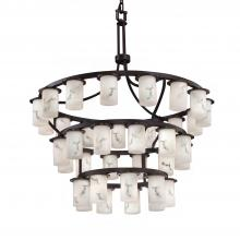 Justice Design Group FAL-8733-10-DBRZ - Dakota Downlight 36-Light Inverted 3-Tier Chandelier