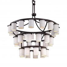 Justice Design Group POR-8733-10-WAVE-DBRZ - Dakota Downlight 36-Light Inverted 3-Tier Chandelier