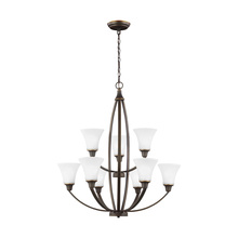 Generation Lighting - Seagull 3113209BLE-715 - Fluorescent Metcalf Nine Light Chandelier in Autumn Bronze with Satin Etched Glass