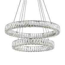 Kuzco Lighting Inc CH7832 (4000K) - Two Tiered LED Chandelier with Exquisite Diamond Cut Clear Crystals